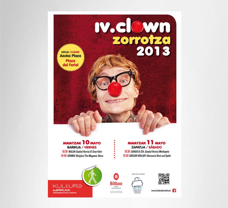 """Ayto. de Bilbao – Cartel """"clown zorroza"""""""