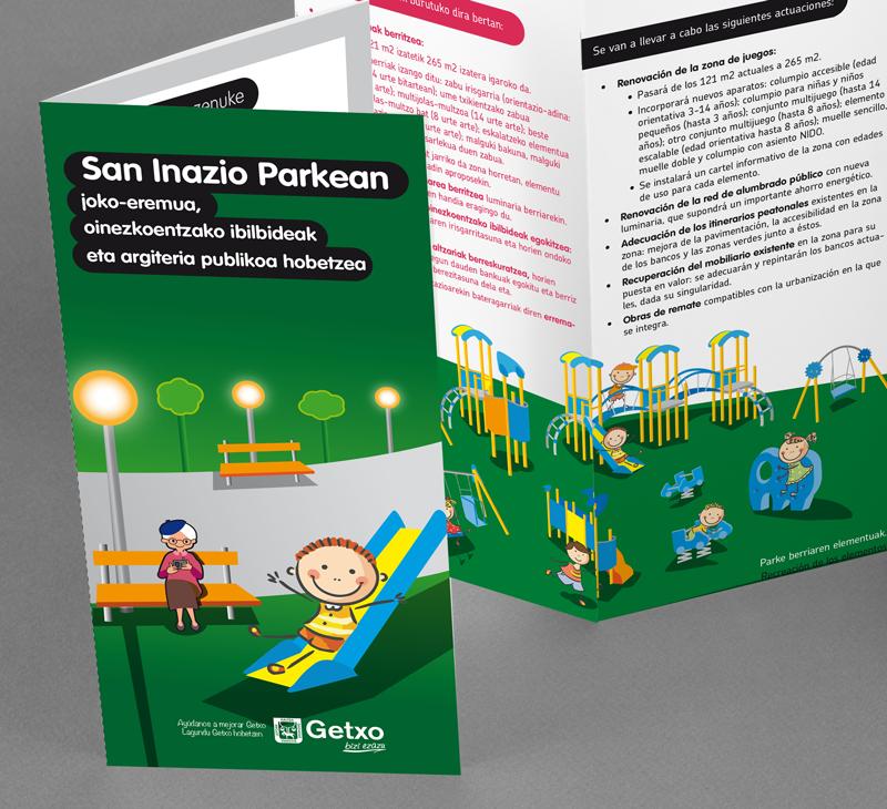 Diseño de folleto: </br>mejora del parque de San Igancio en Getxo.