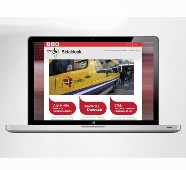 Diseño de sitio web: Bidaideak
